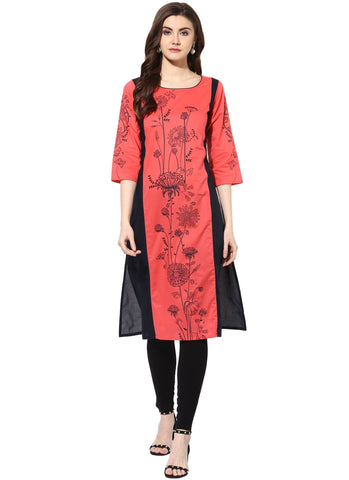 Pink Color Rayon Stitched Kurti - 9000487-PINKNAVY