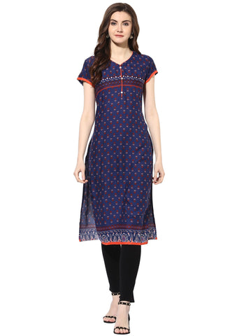 Blue Color Rayon Stitched Kurti - 9000489-BLUE
