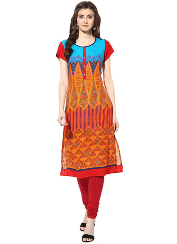 Multi Color Rayon Stitched Kurti - 9000491-MULTI
