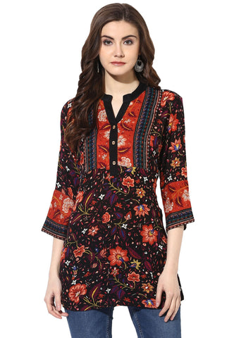 Multi Color Rayon Stitched Kurti - 9000492-MULTI