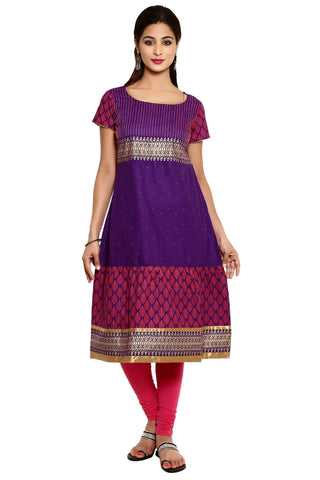 Violet Color Cotton Stitched Kurti - 9000494-VIOLET