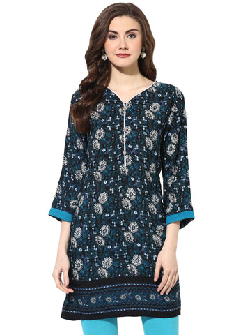 Turquoise Color Rayon Stitched Kurti - 9000495-BLACKWHITE