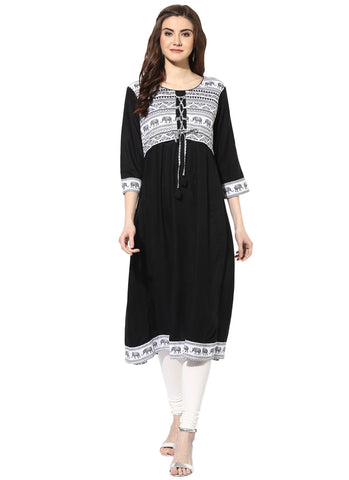 Black Color Cotton Stitched Kurti - 9000496-BLACK