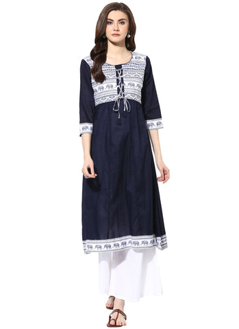 Navy Color Cotton Stitched Kurti - 9000496-NAVY