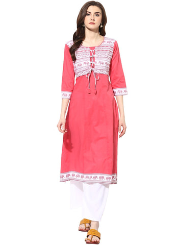 Pink Color Cotton Stitched Kurti - 9000496-PINK