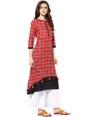 Red Color Cotton Stitched Kurti - 9000498-REDBLACK