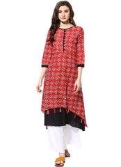 Red Color Cotton ReadyMade Kurti