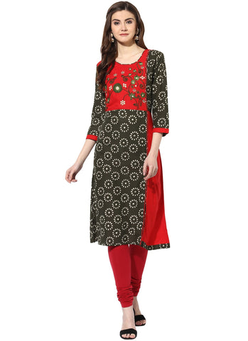 Uniform Green And Red Color Cotton Stitched Kurti - 9000499-GREENRED