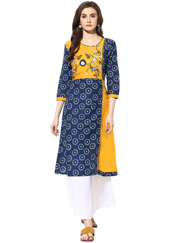 Yellow Color Cotton Stitched Kurti - 9000499-YELLOWBLUE