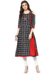Black Color Cotton Stitched Kurti - 9000500-BLACKRED