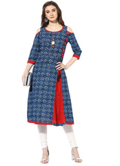 Blue Color Cotton Stitched Kurti - 9000500-INDIGOBLUE