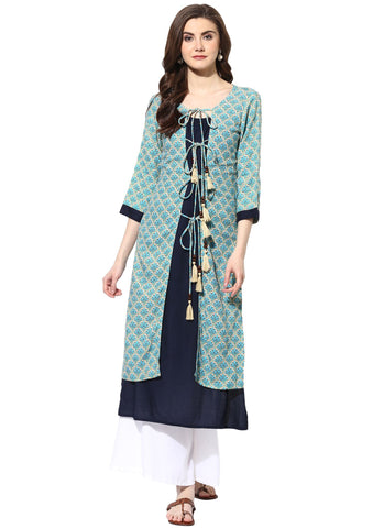 Blue Color Rayon Stitched Kurti - 9000501-BLUEBEIGE