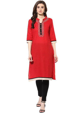 Red Color Rayon Stitched Kurti - 9000506-RED