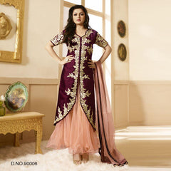 Wine Color Raw Silk Salwars
