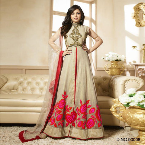 Beige Color Art Silk Un Stitched Salwars - 90008