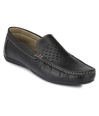 Black Color Synthetic Men's Loafers - 9063_Black