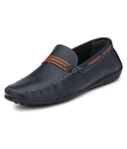 Blue Color Leather Men's Loafers - 9085_Blue