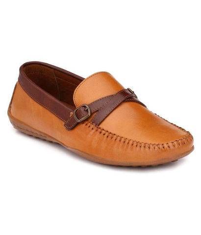 Tan Color Leather Men's Loafers - 9086_Tan