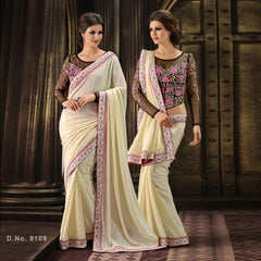 Cream Color Satin Saree
