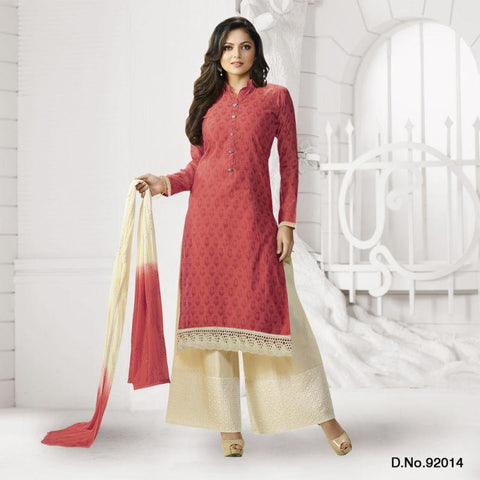 Carrot Red Color Chanderi Un Stitched Salwars - 92014