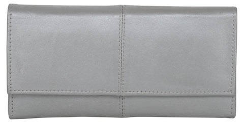 Silver Color Leather Womens Wallet - 941SILVER