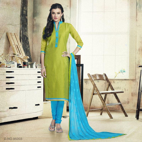 Green Color Chanderi Un Stitched Salwars - 95003