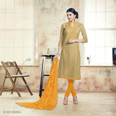 Beige Color Chanderi Un Stitched Salwars - 95004