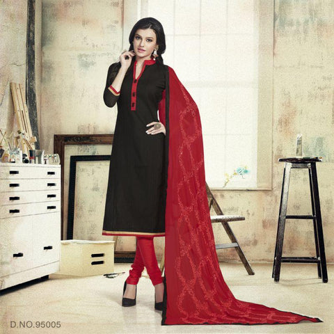 Black Color Chanderi Un Stitched Salwars - 95005