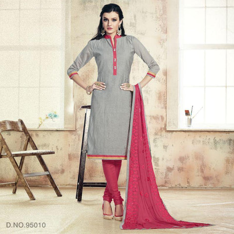 Grey Color Chanderi Un Stitched Salwars - 95010