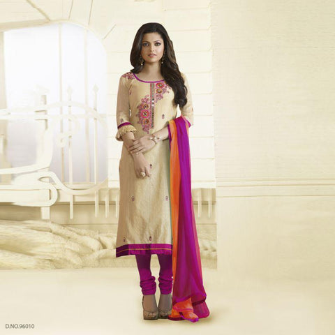 Beige Color Chanderi Silk Un Stitched Salwars - 96010
