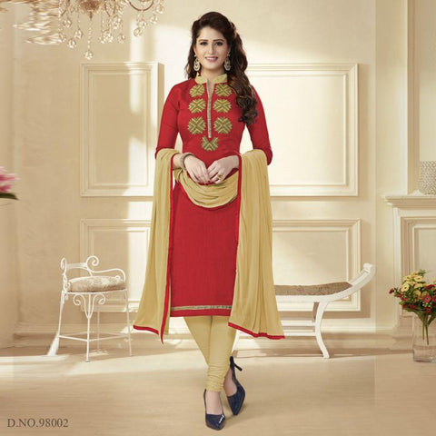 Coral Color Chanderi Un Stitched Salwars - 98002