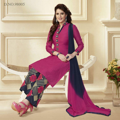 Magenta Color Chanderi Un Stitched Salwar - 98005