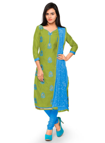 Green Color Chanderi Un Stitched Salwars - 98010
