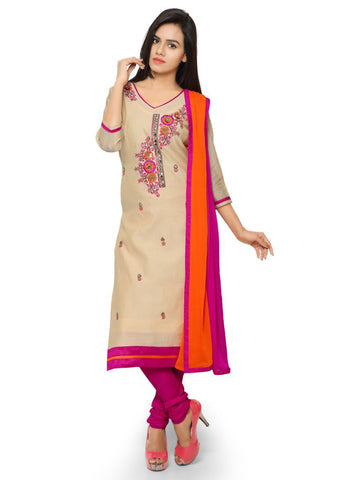 Beige Color Chanderi Un Stitched Salwars - 98011