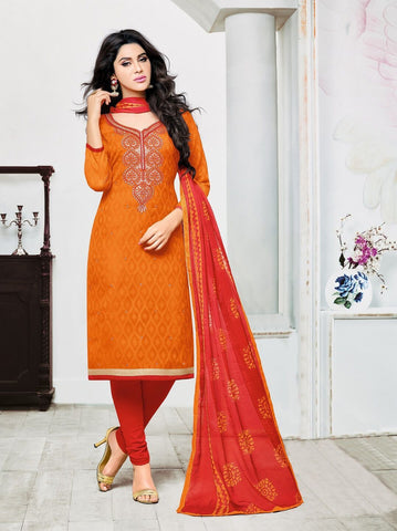 Orange Color Lakda Jacquard UnStitched Salwar  - 9DRD97005