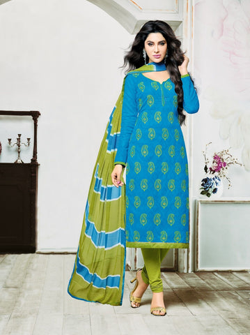 Sky Blue Color Lakda Jacquard UnStitched Salwar  - 9DRD97008