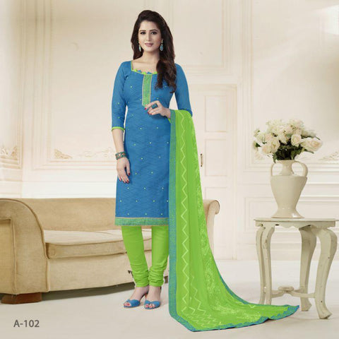 Blue Color Cotton Jacqaurd Un Stitched Salwars - A-102