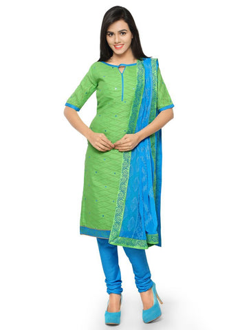 Green Color Cotton Jacqaurd Un Stitched Salwars - A-104