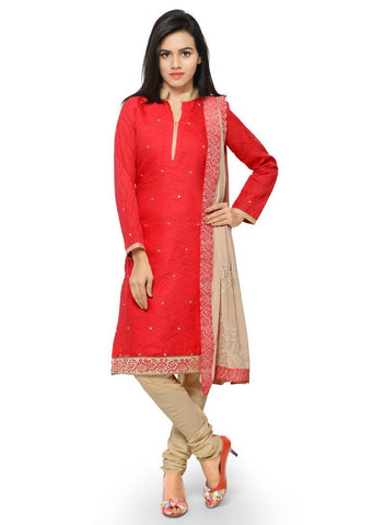 Coral Color Cotton Jacqaurd Un Stitched Salwars - A-105