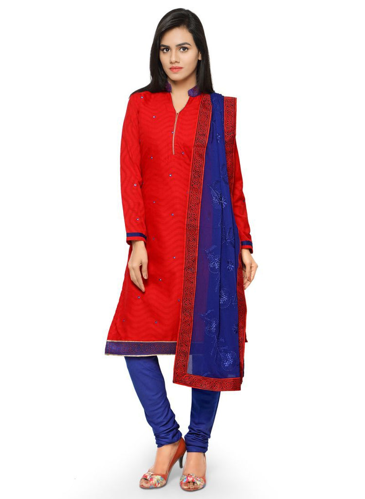 Red Color Cotton Jacqaurd Salwars