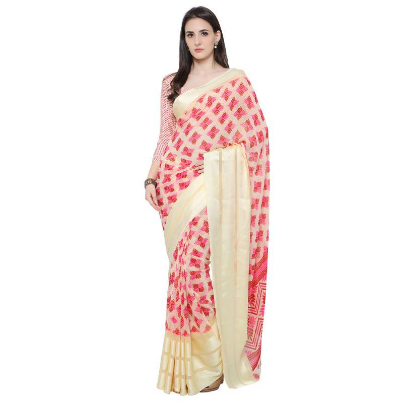 Cream Color Georgette Saree