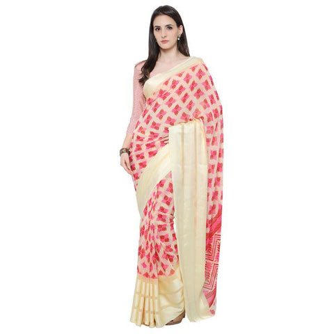 Cream Color Georgette Saree - A-19009