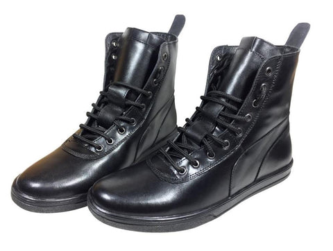 Black Color Leather Tpr Men's Casual Shoes - A-505-boot-black