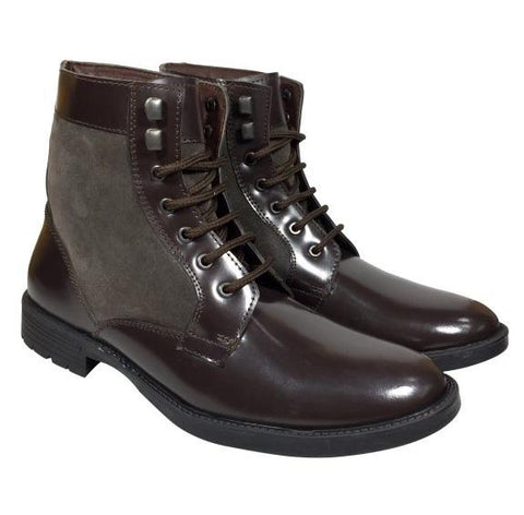 Brown Color Leather Tpr Men's Casual Shoes - A-701-boot-brown