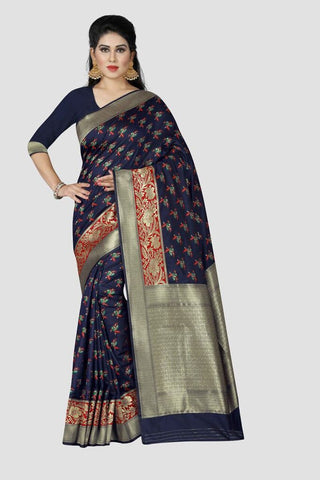 Navy Blue Color Banarasi Silk Women's Zari Work Saree - A0335