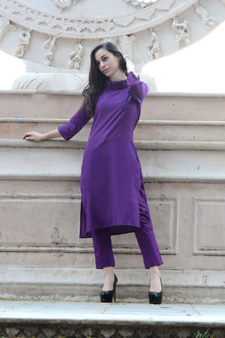 Purple Color Cotton Stitched Kurti - A12purple
