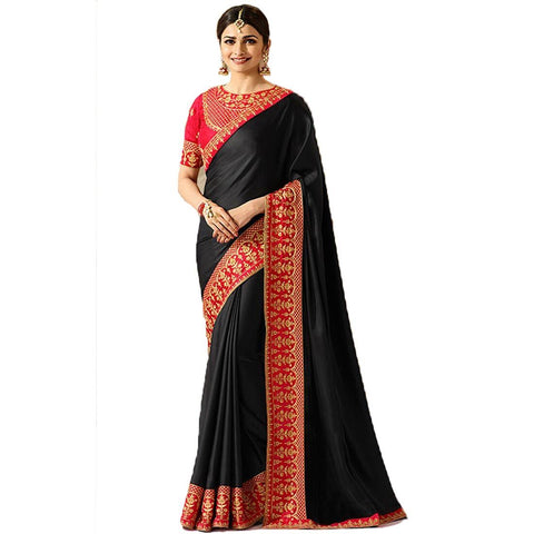 Black Color Sana Silk Saree  - A19-Black2