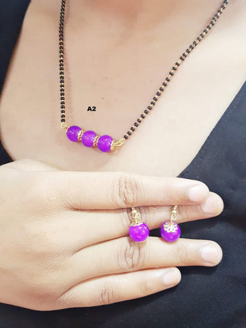 Purple Color Beads Mangalsutra - A2080050BMG