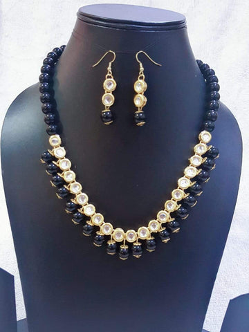 Black Color Kundan Necklace Set - A2320280KNS4