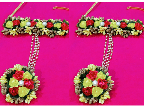 Multi Color Artificial Flowers and Beads Women's Hathphool - A2350550FHP3